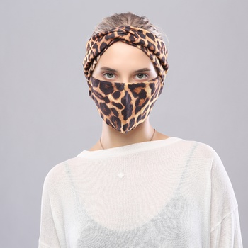 3PCS Leopard Print Hair Band Mask Set