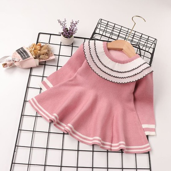 Baby Sweet Solid Striped Doll Collar Long-sleeve Dress
