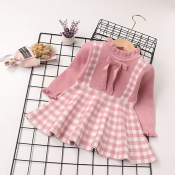 Baby Sweet Plaid Bowknot Decor Dress
