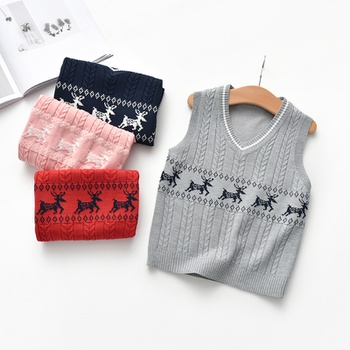 Baby Unisex Sweet Elk Sweaters Christmas Sleeveless Pullover Vest Baby Kids Toddler Autumn Outerwear