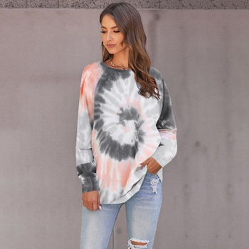 Round collar Tie dye Positioning print long sleeve normal Pullover