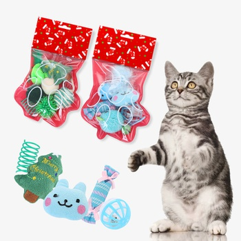Pet Cat Toy Christmas Cat Paw Bag Set