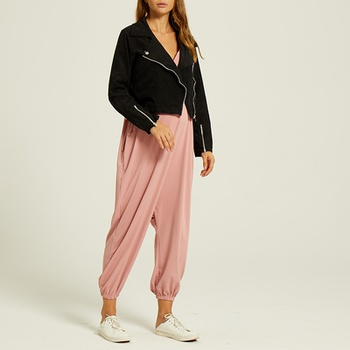 Maternity casual Plain Pink high-waist  Jumpsuits