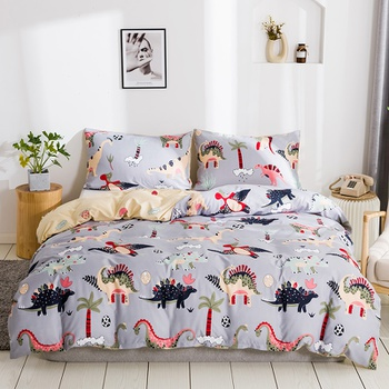 Cartoon Dinosuar Printed Quilts Summer Thin Air-conditioned Comforter Queen Size Colcha Duvets Single Bed