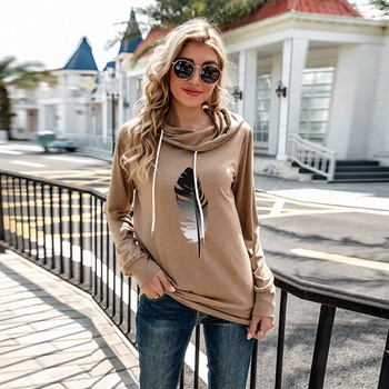 Hooded Feather Litooffset print long sleeve normal Hooded