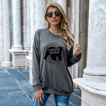 Round collar Animal Litooffset print long sleeve normal Pullover