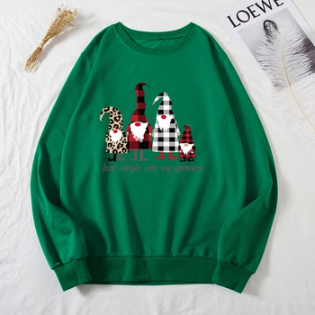 Round collar Santa Claus Litooffset print long sleeve normal Pullover
