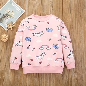 Baby / Toddler Unicorn Rainbow Print Long-sleeve Pullover