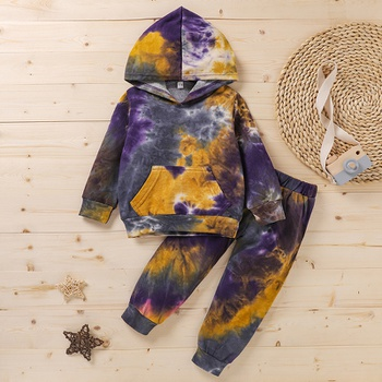2-piece Baby / Toddler Tie-dye Hooded Pullover and Pants Set