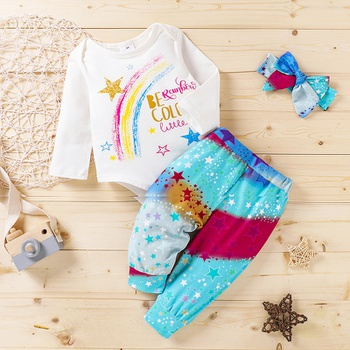3pcs Baby Girl Sweet Rainbow Baby's Sets Romper Cotton Fashion Long Sleeve Infant Clothing Outfits
