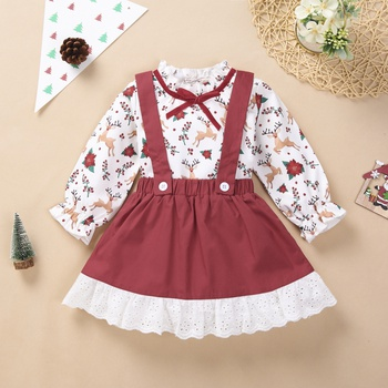 Baby Girl Christmas Tree & Elk Sweet Suit-dress