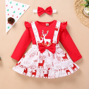 Baby Girl Sweet Elk Suit-dress