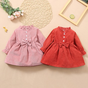 Baby Girl Sweet Dress Long-sleeve Solid Sweet Princess dress Baby Girl Clothes