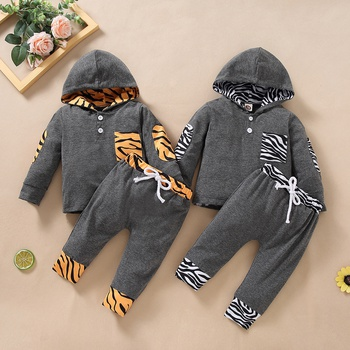 2pcs Baby Boy casual Baby's Sets Warm Autumn Winter Hooded Long Sleeve Infant Clothing Outfits