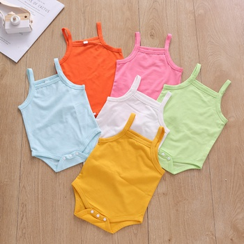 Baby Pretty Candy Color Solid Strappy Romper