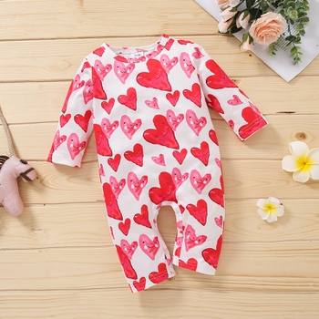 1pc Baby Long-sleeve  Unisex casual Heart-shaped Jumpsuits