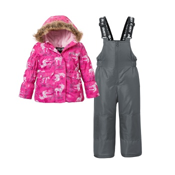 2-piece Toddler Unicorn Print Hooded Jacket and Snow Bib Ski Suit