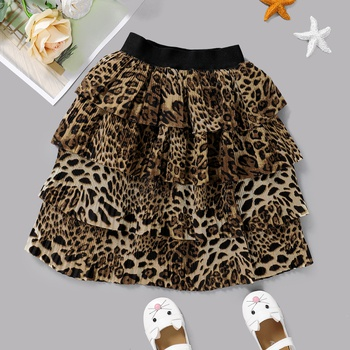Baby / Toddler Fashionable Leopard Pattern Tiered Skirt