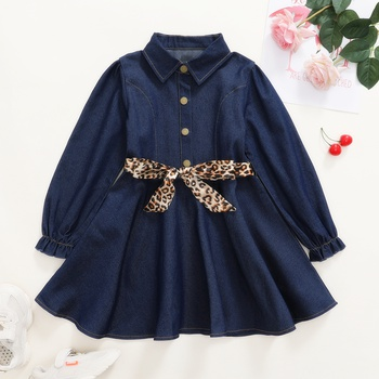 Fashionable Denim Leopard Print Bowknot Button Lapel Collar Longsleeves Dress