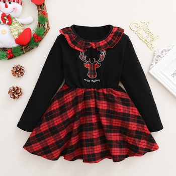 Trendy Christmas Plaid Ruffled Collar Longsleeves Dress