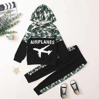 Trendy Camouflage Plane Letter Hooded Sweatshirt and Pants Set
