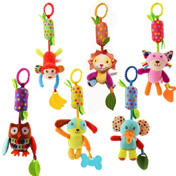 Baby Hanging Teething Rattle Toys Soft Activity Crib Stroller Toys Animal Shape for Toddlers Baby Girls Baby Boys