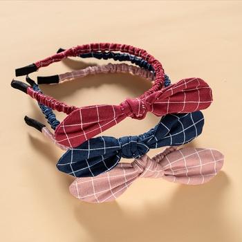 Adorable Plaid Rabbit Ear Knot Ruffled Hairband for Girls