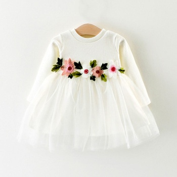 Jersey Cotton Long-sleeve Tutu Dress with Flower Decor Waist for Baby and Toddler Girls