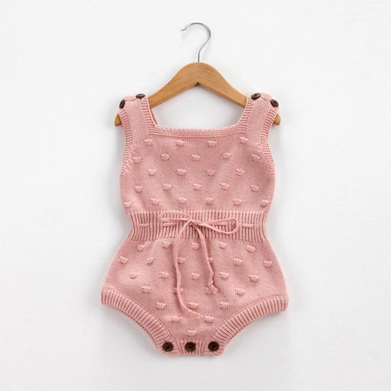 d2ad22f6f088 Baby Baby s Solid Knit Pom-pom Decor Sleeveless Romper(Unisex) at ...