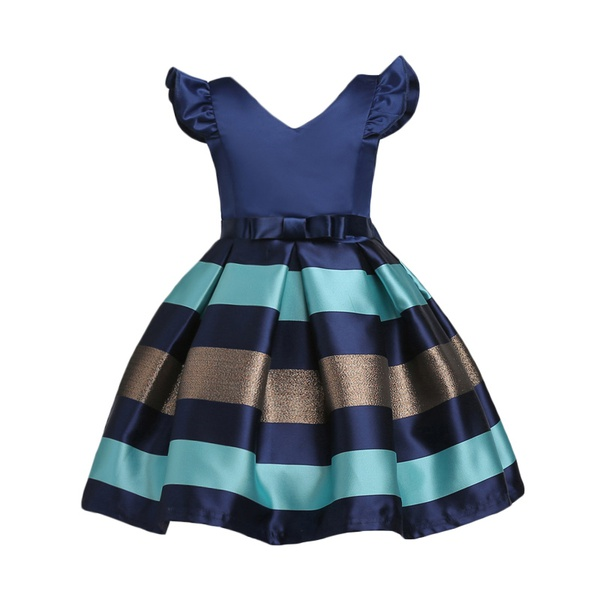 Girl's Elegant Stripes Angle-sleeve Party Dress