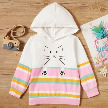 Baby / Toddler Cat Striped Hooded Pullover