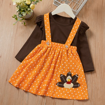 2-piece Baby / Toddler Solid Tee and Dots Strap Skirt Set