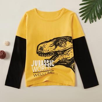 Trendy Dinosaur Print Faux-two Long-sleeve Tee