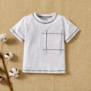 1pc Baby Short-sleeve Cotton Unisex Avant-garde Stripes Tee