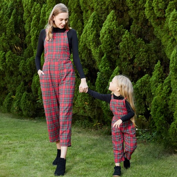Christmas Plaid Print Tank Jumpsuits for Mommy-girl-baby