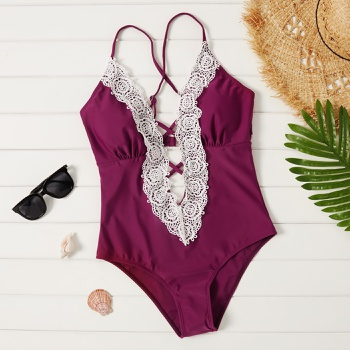 Pretty Lace Patchwork One-piece Swimsuit