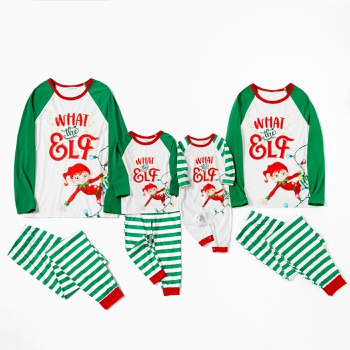 Family Matching ' What the Elf ' Print Striped Christmas Pajamas Sets(Flame Resistant)