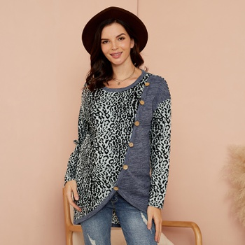 Maternity Round collar Leopard full print Grey Long-sleeve Nursing Tee