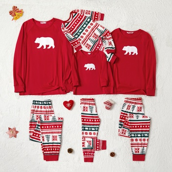 Family Matching Bear Print Christmas Pajamas Sets (Flame Resistant)