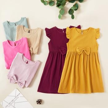 Kids Girl Solid Bownot Ruffled Dress