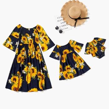 Sunflowers Print 100% Cotton Matching Half Sleeve Dresses