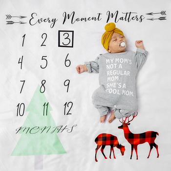 Christmas 12 Monthly Tree Reindeer Print Baby Milestone Photography Newborn Soft Baby Photography Props Background Blanket photo