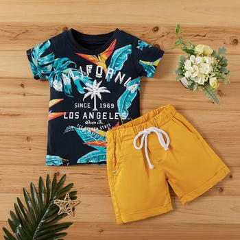 2-piece Baby / Toddler Boy Print Short-sleeve Top and Solid Shorts Set