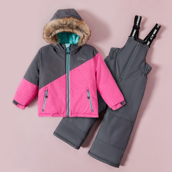 2-piece Toddler Boy Splice Hooded Jacket and Snow Bib Ski Suit