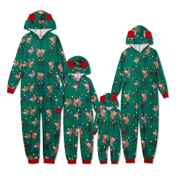 Family Matching Sloth Print Christmas Hooded Onesies Pajamas (Flame Resistant)