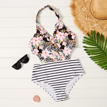 Pretty Floral Colorblock Print One-piece  Swimsuit