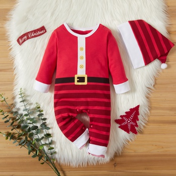 2-piece Baby Santa Striped Christmas Jumpsuit and Hat