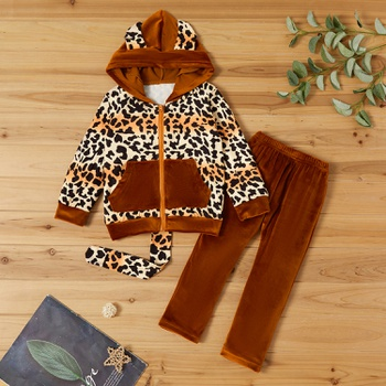 2-piece Baby / Toddler 3D Leopard Fluff Jacket and Pants Set