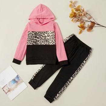 Trendy Leopard Hooded Sweatshirt and Pants Set