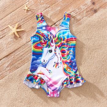 Pretty Unicorn Print Swimsuit